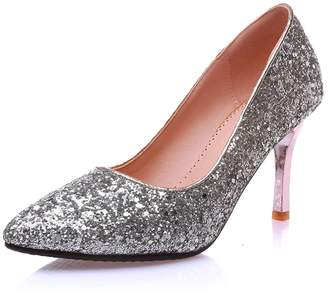 44bf6803536 DecoStain Women s Glitter Pointed Toe Stiletto High Heel Pumps Party Wedding  Dress Shoes