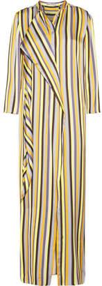 Acne Studios Doree Long Striped Satin Maxi Dress - Yellow