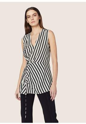Derek Lam Sleeveless Asymmetrical Ruched Blouse