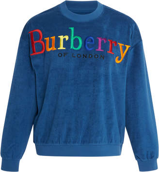 Burberry Embroidered Velour Sweater