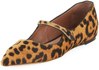 Tabitha Simmons Hermione Leopard-Print Mary Jane Flats