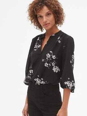 Gap Floral Print Split-Neck Blouse