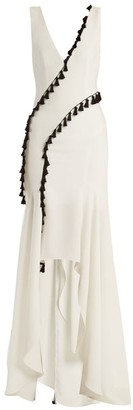 Galvan - Cuzco Tassel Embellished V Neck Gown - Womens - White