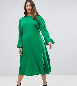 Asos Fluted Sleeve Midi Dress with Split