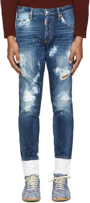 Dsquared2 Blue Distressed Skinny Jeans $655 thestylecure.com