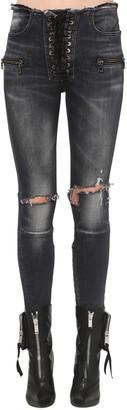 Unravel Lace Up Cotton Denim Skinny Pants