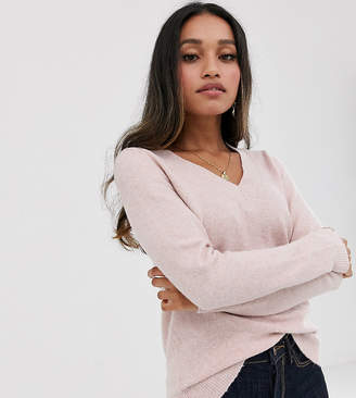 Vero Moda Petite v neck knitted jumper in pink