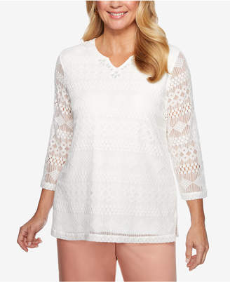 Alfred Dunner Good To Go Embroidered Net Top