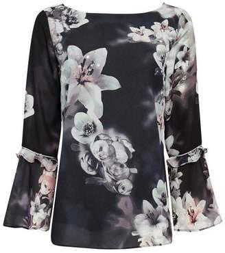 Wallis Black Floral Embellished Top