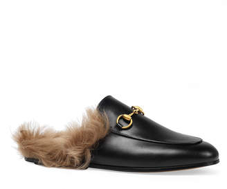 Gucci Princetown Fur-Lined Leather Mule
