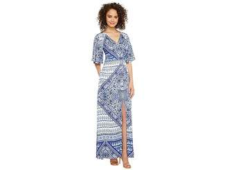 Hale Bob Beach Belle Rayon Stretch Satin Woven Maxi Dress Women's Dress