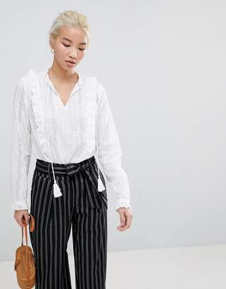 New Look Cut Work Frill Blouse