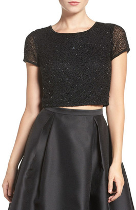 Adrianna Papell Beaded Crop Top (Plus Size) $179 thestylecure.com