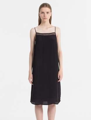 Calvin Klein semi-sheer racerback slip dress