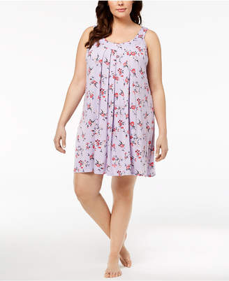 Alfani Plus Size Bouquet-Print Pleated Nightgown, Created for Macy's
