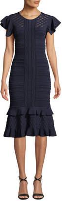Sachin + Babi Shivon Ruffled Cap-Sleeve Knit Dress