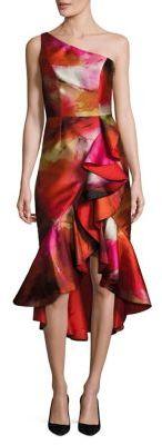 Theia Ruffled One-Shoulder Dress $750 thestylecure.com