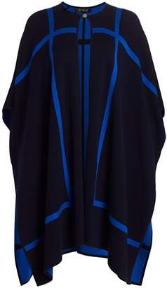 St. John Reversible Wool-Blend Graphic Knit Cape Jacket