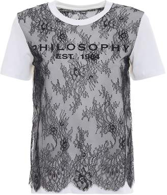 Philosophy di Lorenzo Serafini See-through Lace Embellished White Tee