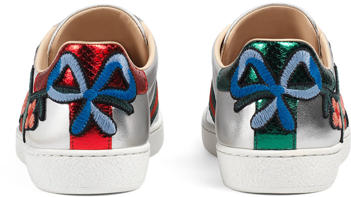 Gucci New Ace Floral Leather Sneaker, Silver 2