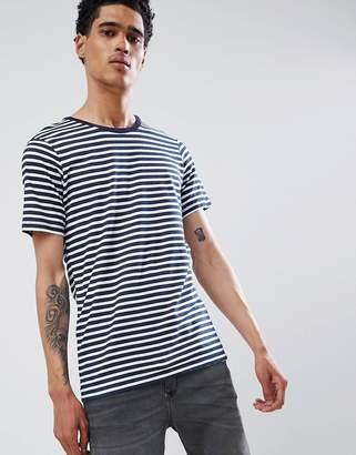 Bershka T-Shirt In Navy And White Stripe