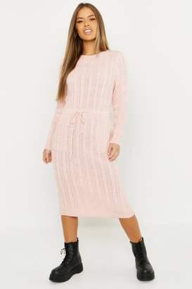boohoo Petite Cable Knit Midi Dress