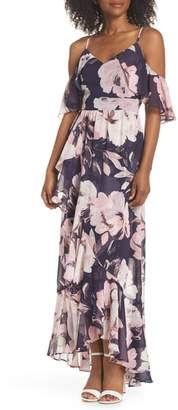 Vince Camuto Print Cold Shoulder Chiffon Maxi Dress