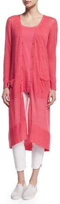 Joan Vass Long Sheer Button-Front Cardigan, Strawberry