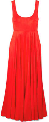 SOLACE London Naie Satin-jersey Maxi Dress - Red