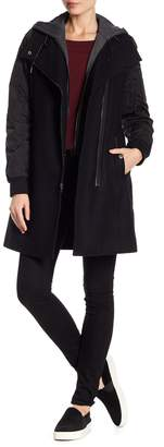 Andrew Marc Rowan Hooded Wool Blend Coat