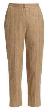 Brunello Cucinelli Women's Cotton& Linen Pailette Chevron Trousers - Tan - Size 44 (8)