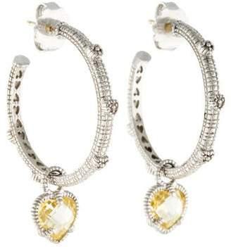 Judith Ripka Canary Crystal Heart Charm Hoop Earrings