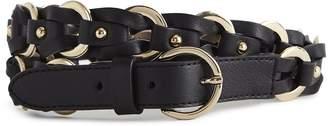 Reiss Iris Leather Woven Belt