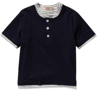 AMERICAN THREADS Short Sleeve Two-Fer Henley Tee (Toddler & Little Boys)