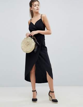 Asos Design Fuller Bust Linen Wrap Side Maxi Dress