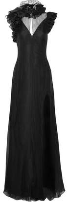Ruffled Lace-trimmed Silk-muslin And Satin Gown - Black