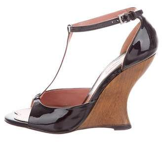 Alaia Patent Leather T-Strap Wedges