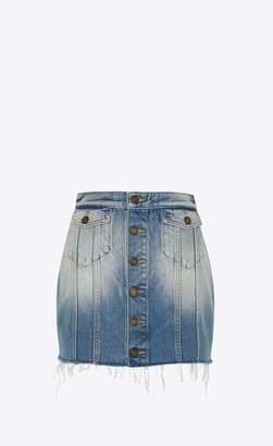 Saint Laurent Buttoned Skirt In Seventies Blue Denim