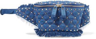 Valentino Garavani The Rockstud Quilted Denim Belt Bag - Blue
