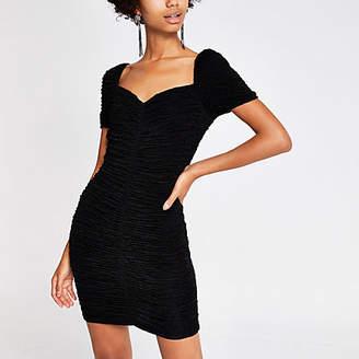 River Island Black ruched bodycon dress