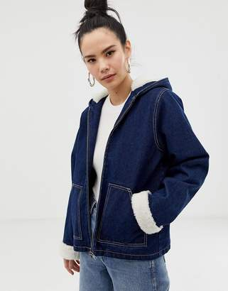 Asos Design DESIGN denim jacket with hood with fleece lining