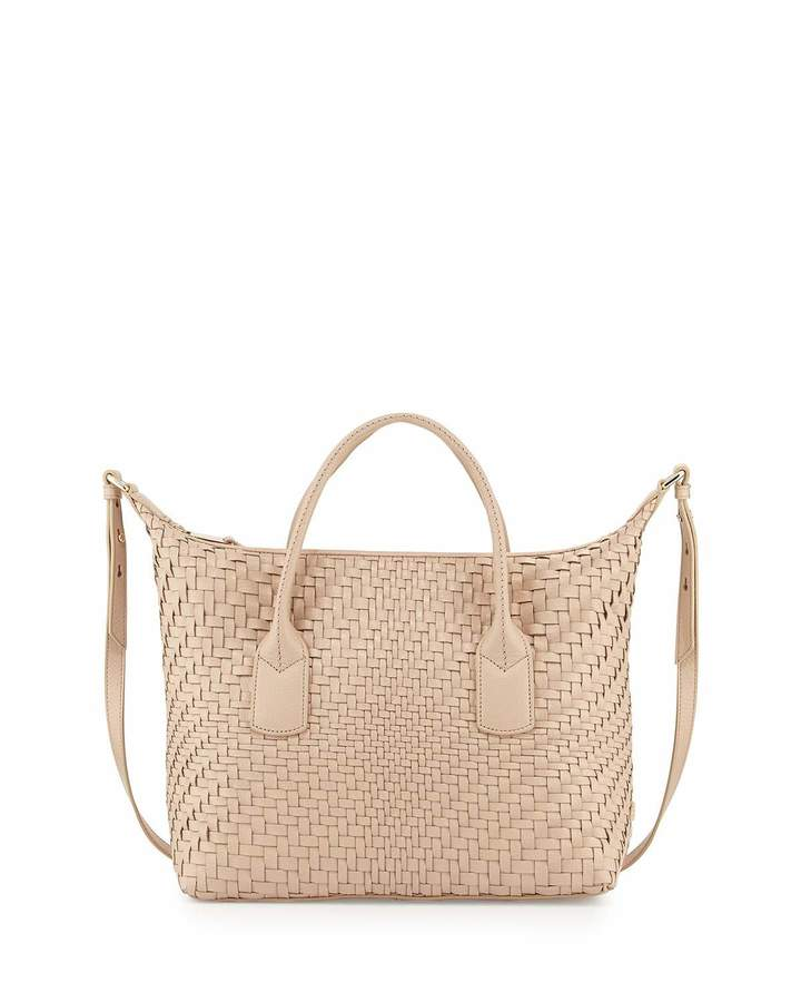 Cole Haan  Cole Haan Lena Large Woven Leather Satchel Bag, Sandstone