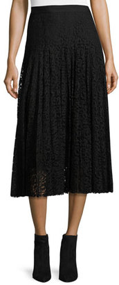 Rebecca Taylor Pleated Lace Midi Skirt, Black $495 thestylecure.com