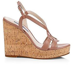 Stuart Weitzman Women's Cressa Cork & Leather Platform Wedge Sandals