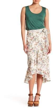 Max Studio Floral Print Midi Wrap Skirt