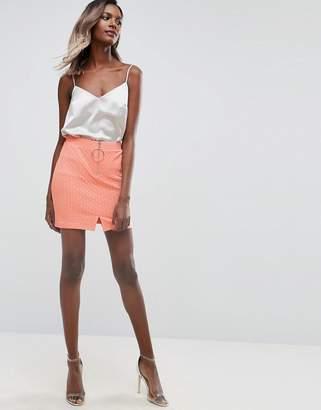 Asos Textured Mini Skirt with Circle Trim and Zip