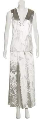 Ji Oh Sleeveless Velvet Dress Silver Sleeveless Velvet Dress