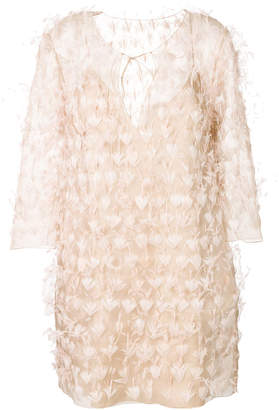 Alberta Ferretti feathered shift dress