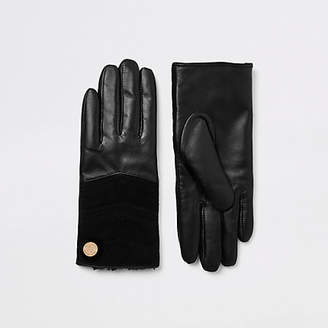 River Island Black leather quilted gloves