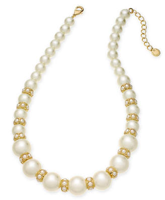 """Charter Club Gold-Tone Imitation Pearl Collar Necklace, 17"""" + 2"""" extender, Created for Macy's"""
